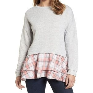 Caslon Gray Pink Plaid Peplum Tunic M